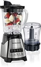 Hamilton Beach Power Elite Blender with 40oz Glass Jar and 3-Cup Vegetable Chopper, 12 Functions for Puree, Ice Crush, Shakes and Smoothies, Black and Stainless Steel (58149)