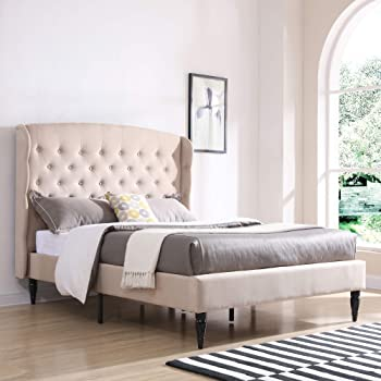 Classic Brands Brighton Upholstered Platform Bed | Headboard and Metal Frame with Wood Slat Support, King, Linen