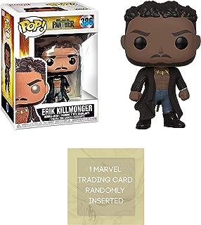 Funko Erik Killmonger with Scar: Black Panther x POP! Marvel Vinyl Figure + 1 Official Marvel Trading Card Bundle [33153]