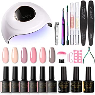 VOXURY Lámpara UV LED para Uñas 48w 6 Colores Kit de Esmaltes Semipermanentes Manicura Francesa en Gel UV LED Base y Top...