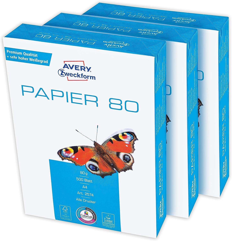 Avery Zweckform 2574 - Papel de impresión (1500 hojas, 80 g/m², DIN A4, blanco brillante, para todas las impresoras) 1 caja de 3 unidades