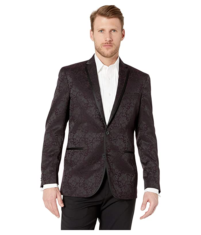Kenneth Cole Reaction  Floral Evening Jacket (Burgundy) Mens Coat