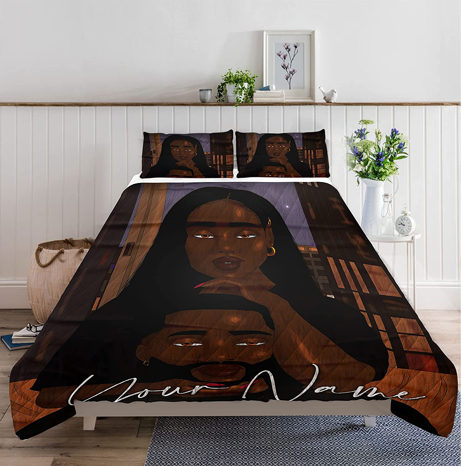 GANTEE Be My Girl Black Quilt Bed Luxury Name CouplePersonalized Custom Opening large release sale