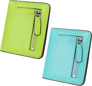 AINIMOER Women Leather Wallet RFID Blocking Small Mini Bifold Zipper Pocket Card Case Light Green and Sea Blue