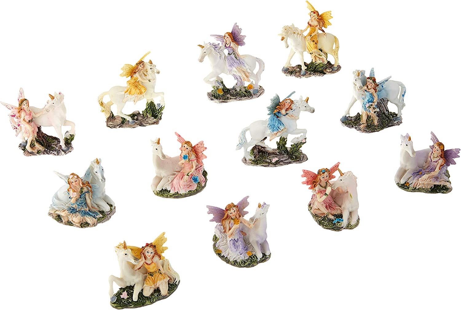 Major-Q G8091927 3  Set of 12 Miniature Fairy and Unicorn with Different colors and Poses Statue Figurine Home Decor Sculptures Polyresin