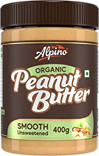 Alpino Organic Natural Peanut Butter Smooth 400 G | Unsweetened | Made with 100% Roasted Organic Peanuts | 30% Protein | N...