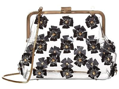 ZAC Zac Posen Floral Love Frame Clutch Glass (Black) Handbags