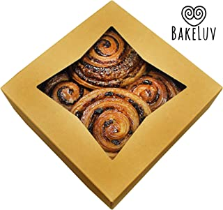 BakeLuv Brown Bakery Boxes with Window 8x8x2.5 inches | 12 Pack | Auto-Popup | Thick & Sturdy 350 GSM | Cookie Boxes with Window Bakery Boxes for Cookies, Cake Boxes, Donut Boxes, Pastry Boxes