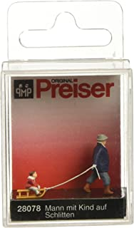 Preiser 28078 Individual Figures, Sports & Recreation Man Pulling Child on Sled HO Scale Figure