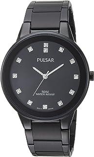 Pulsar Men's Quartz Watch with Stainless-Steel Strap, Black, 20 (Model: PG2051)