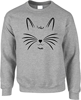 Tim And Ted I Love Cats Jumper Face with Heart Nose Sweatshirt Sweater