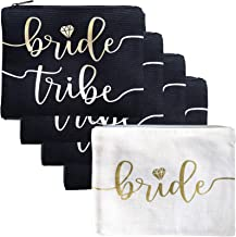 Bride Tribe Makeup Bags - Bridesmaid Favor for Bachelorette Party, Bridal Shower, Wedding. Cosmetic Toiletry Bag, Wedding Survival Kit, Hangover Kit, Keepsake (4+1pc Bride Tribe + Bride, Black & Gold)