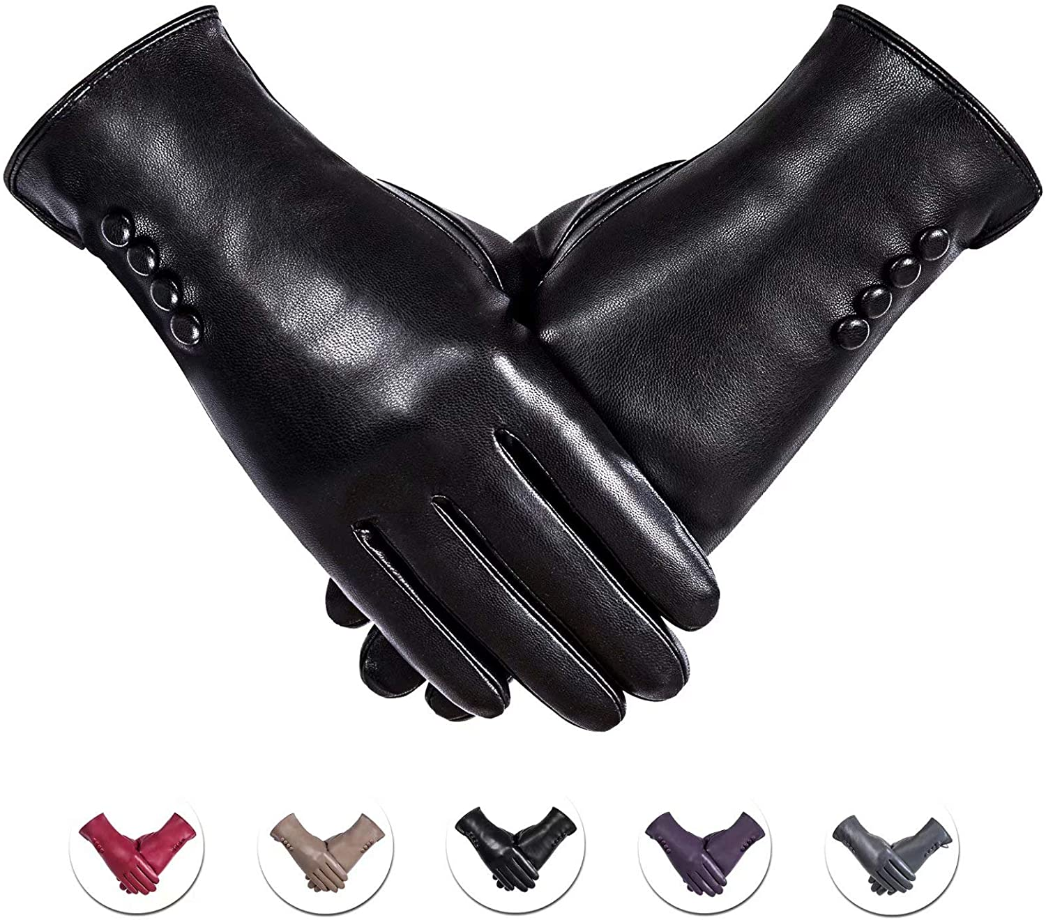 Winter PU Leather Gloves For Women, Warm Thermal Touchscreen Texting Typing Dress Driving Motorcycle Gloves With Wool Lining