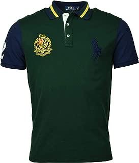 Men's Gold Big Pony Custom Slim Fit Polo Shirt, Black