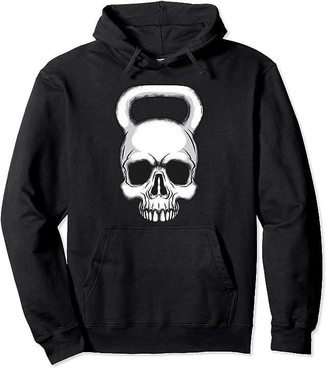 Felpa con cappuccio bodybuilding fitness kettlebell skull -  kettlebell teschio magliette 4H4MEPWHT1M