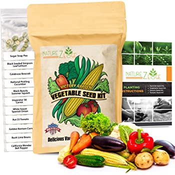 NatureZ Edge Garden Seeds Vegetable Variety Seed Pack, 11 Varieties of Heirloom Vegetable Gardening Seeds for Planting, 4800+ Seeds for Gardening Vegetables,Non-GMO