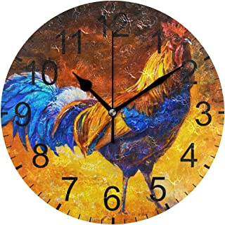 LUCASE LEMON ALEX Colorful Oil Painting Cock Rooster Round Acrylic Wall Clock Non Ticking Silent Clocks for Home Decor Living Room Kitchen Bedroom Office School