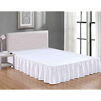 Sheets & Beyond Wrap Around Solid Luxury Hotel Quality Fabric Bedroom Dust Ruffle Wrinkle and Fade Resistant Gathered Bed Skirt 14 Inch Drop (Full, White)