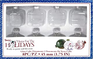 Clear Glass Cube Ornaments: 1-3/4 inches