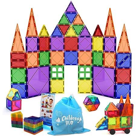Sense of Color 3D Educational Building Toys for Boys Girls Math Develop Tactile Skills Sinceroduct Magnetic Tiles Building Blocks 124pcs Set for Kids Creativity