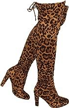 Wild Diva Women's Over The Knee Boot - Sexy Over The Knee High Pullon Boot - Trendy Low Block Heel Shoe - Comfortable Boot (8 M US, Camel Leopard VSU)