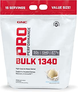 GNC Pro Performance Bulk 1340, Vanilla Ice Cream, 12 lbs, Supports Muscle Energy, Recovery and Growth
