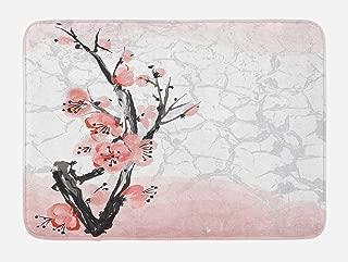 Lunarable Floral Bath Mat, Japanese Cherry Blossom Sakura Tree Branch Soft Pastel Watercolor Print, Plush Bathroom Decor Mat with Non Slip Backing, 29.5