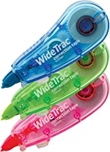 Tombow 68615 WideTrac Correction Tape, 3-Pack. Easily Covers Handwritten Notes in a Single Strip, Blue; Green; Pink