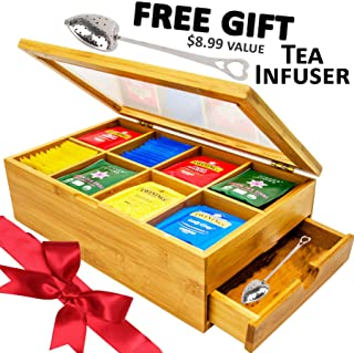 Tea Box 100% Bamboo Tea Box Chest Organizer With Slide Out Drawer, 8 Storage Compartments Clear Shatterproof Hinged Lid By Sugarman Creations PERFECT HOLIDAY GIFT