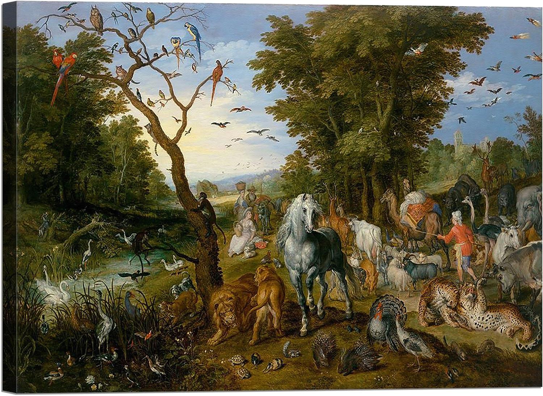 LuxHomeDecor Bild auf Leinwand mit Keilrahmen aus Holz Jan Bruegel Bruegel Bruegel the Elder The Entry of the Animals Into Noah 's Ark 120x90 CM B078HNW5LT   Starke Hitze- und Abnutzungsbeständigkeit  8ef08b