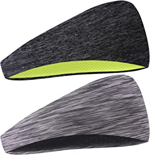 COOLOO Mens Headband, 2 Pack Guys Sweatband Sports Headband for Men Women Unisex, Performance Stretch & Moisture Wicking for Running Work Out Gym Tennis Basketball