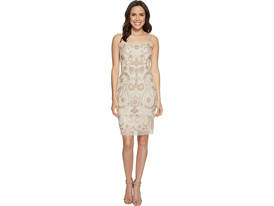 Adrianna Papell Beaded Cocktail Dress (Biscotti) Women