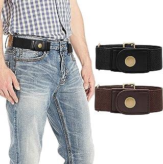 حزام مطاطي بدون إبزيم للرجال والنساء أحزمة مرنة قابلة للتعديل من أجل بنطلون جينز حزمة من 3 قطع