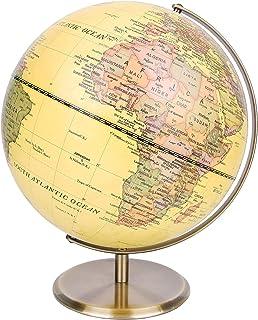 Exerz 30cm Globo Antiguo - Soporte de metal color bronceado - Mapa de Ingles- Globo Terráqueo giratorio grande - Decoración/educativo/geográfico - para la escuela, el hogar y la oficina