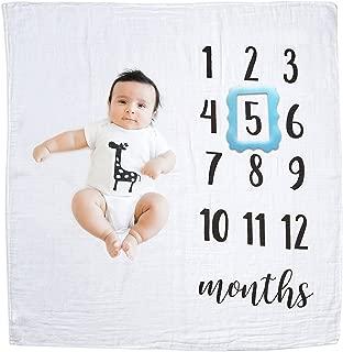 GIFTiz Baby Milestone Blanket Photo Prop Set for Boys & Girls, 100% Organic Hypoallergenic Muslin Cotton, Large - Blue Frame
