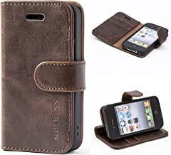 Mulbess iPhone 4s Protective Cover, Magnetic Closure RFID Blocking Luxury Flip Folio Leather Wallet Phone Case with Card Slots and Kickstand for iPhone 4s / 4, Coffee Brown