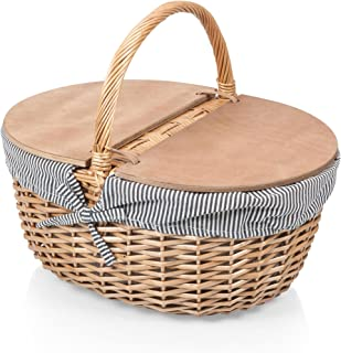 Picnic Time Country Picnic Basket with Liner, Navy/White Stripe, one size