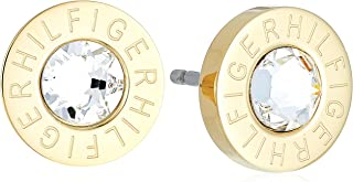"""Tommy Hilfiger Women's Gold-Plated Stainless-Steel Stud Earrings with Etched""""HILFIGER"""" and Clear Center Crystal"""