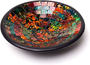 Glass Mosaic Square Accent Plate Platter Decorative Catch-All Tray Dish Centerpiece Bowl - Green, Orange, Blue Colors for ...