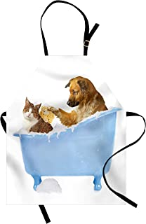 Ambesonne Cat Apron, Dog Kitty in The Bathtub Together Bubbles Shampooing Having Shower Fun Print, Unisex Kitchen Bib with Adjustable Neck for Cooking Gardening, Adult Size, White Blue