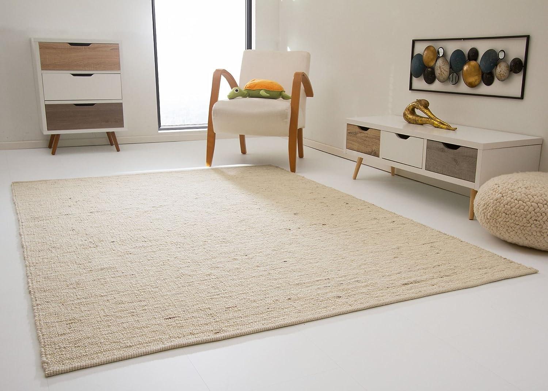 Leutasch Handweb Teppich aus 100% Schurwolle - natur hell, Gre  250x340 cm