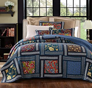 YAYIDAY Patchwork Cotton Bedspread Quilt Sets Queen Size Summer Bedding Bohemian Pattern - Breathable Hypoallergenic Reversible Floral Blanket with Shams, Modern Quilted Stitched Coverlet, Navy Q