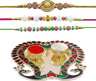 Hathkaam 5PC Rakhi Set for Brother & Bhabhi 2Pc Rakhee Lumba Bracelet for Bhai Bhaiya Bhabhi Happy Raksha Bandhan Handcraf...
