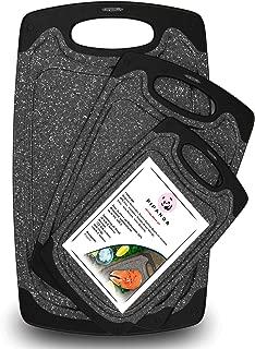 Reversible Plastic Cutting Board for Kitchen (3 Piece Set) Exclusive Marble Grain Design