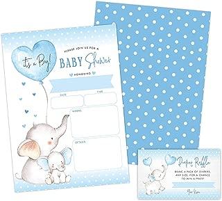 Boy Elephant Baby Shower Invitations, Peanut Baby Shower Invites with Diaper Raffles Cards, Sprinkle, 20 Invites Including Envelopes