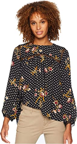 Long Sleeve Printed Blouse w/ Crochet Neckline