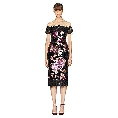 Marchesa Notte Off the Shoulder Sequined Tea Length Dress (Black) Women