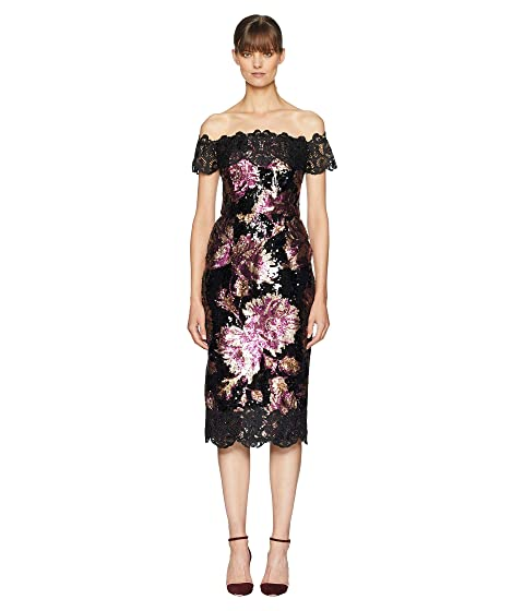 Marchesa Off the Shoulder Sequined Tea Length Dress