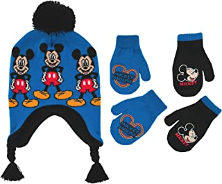Little Boys Mickey Mouse Hat and 2 Pair Gloves or Mittens Cold Weather Accessory Set, Ages 2-7
