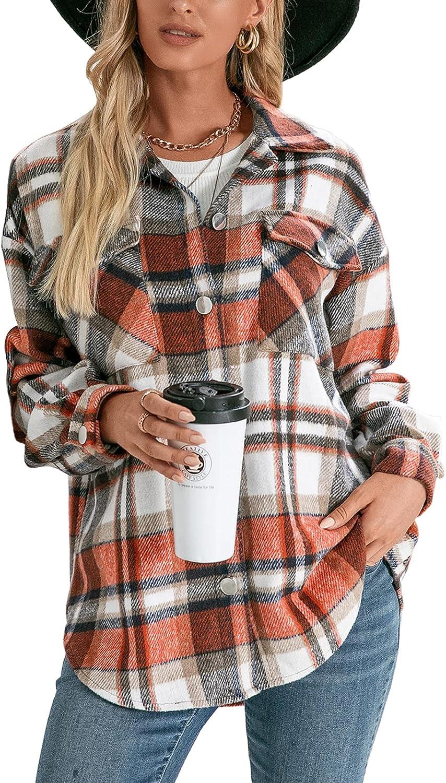 Women Flannel Wool Blend Plaid Button Down Shirt Jacket Shacket Casual Lapel Loose Oversize Blouse Cardigan Coat